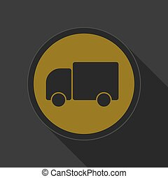 dark gray and yellow icon - lorry car