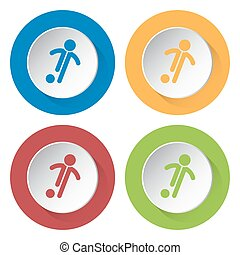 set of four icons - football, soccer player