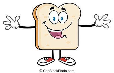 Bread Slice With Open Arms - Happy Bread Slice Cartoon...