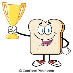 Bread Slice Holding Up A Trophy