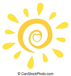 Abstract Sun With Heart Simple Design