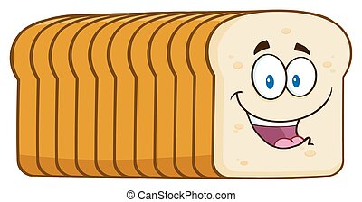 Smiling Bread Loaf Character - Smiling Bread Loaf Cartoon...