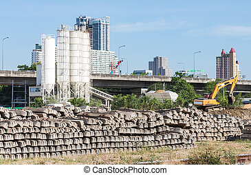Cement sleepers stack.