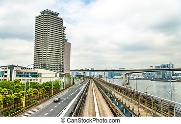 View of Tokyo from Yurikamome line - View of Tokyo from a...
