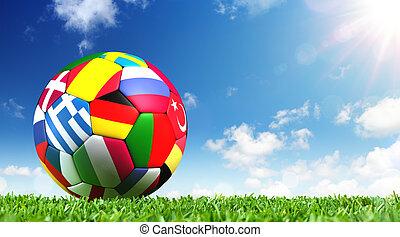 Ball On Grass In The Stadium - European Football...