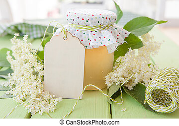 Homemade jelly made from elderberry blossoms in vintage jar