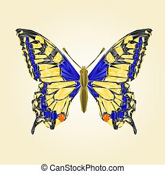 Butterfly Papilio machaon Linnaeus polygons vector.eps -...