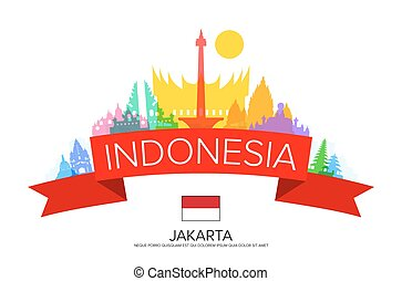 Indonesia Travel, jakarta Travel, Landmarks. Vector and...