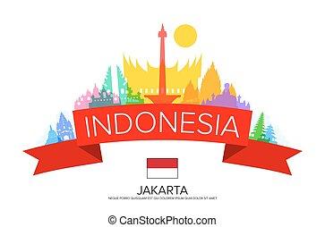 Indonesia Travel, jakarta Travel, Landmarks. Vector and...