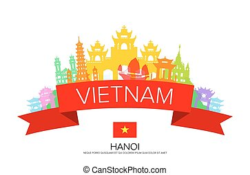 Vietnam Travel, hanoi Travel, Landmarks. Vector and...