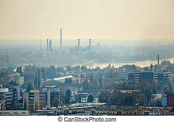 Hazy suburbs view - View of an urban area