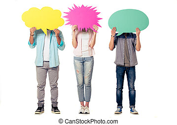 Young people with speech bubbles - Full length portrait of...