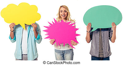 Young people with speech bubbles, men are hiding while girl...