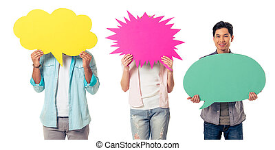Young people with speech bubbles, two are hiding while...