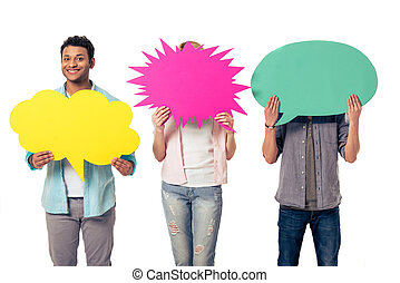Young people with speech bubbles, two are hiding while Afro...