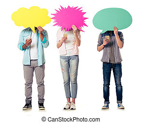 Students with speech bubbles and gadgets - Full length...