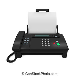 Fax Machine with Paper isolated on white background 3D...