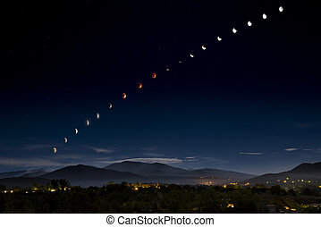 Blood Moon/Supermoon Eclipse Over Santa Fe - Composite image...