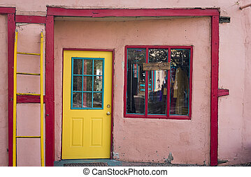 Colorful Door and Window in Madrid, NM - Multicolored shop...