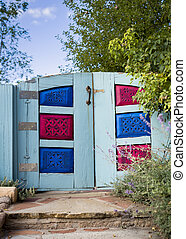 Colorful Santa Fe Gate - Unique red, blue, and green...