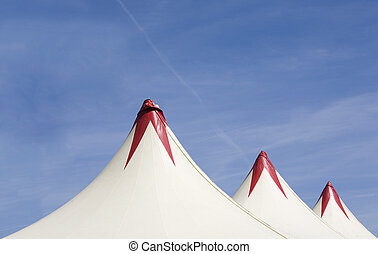 Circus tent - Red and white top of a circus tent
