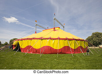 Circus tent in yellow and red