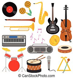 Set of various musical instrument