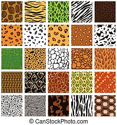 Seamless pattern of different animal skin - Set of seamless...