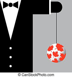 suit with the symbols of Canada - black suit with the...