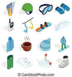 Snowboard icons set, isometric 3d style