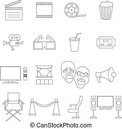 Cinema icons set, thin line style - Cinema icons set in thin...
