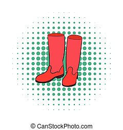Rubber boots icon, comics style - Rubber boots icon in...