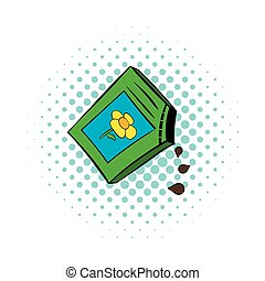 Flower seeds icon, comics style - Flower seeds icon in...
