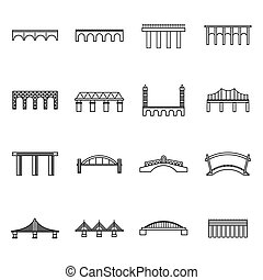 Bridge set icons, thin line style - Bridge set icons in thin...