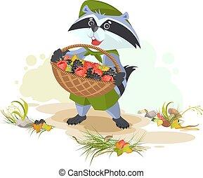 Raccoon holding basket full of berries. Blackberries and...