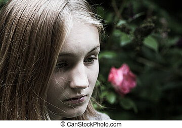 Sad and vulnerable girl