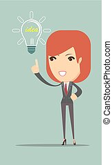 business woman showing she has an idea. Stock vector...