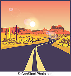 desert road - stylized illustration on the theme of the...