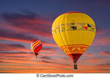 Balloons Over Albuquerque - Colorful hot air balloons in...