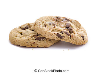Fresh Chocolate Chip Cookies - Two chocolate chip cookies on...