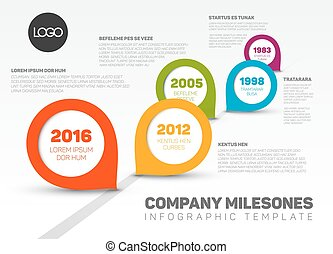 Infographic Timeline Template with pointers - Vector...