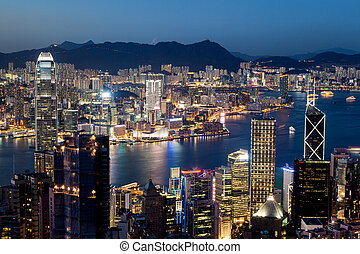 Hong Kong Victoria Harbor Skyline at Night - Colorful night...
