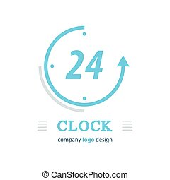 clock logo vector  blue color