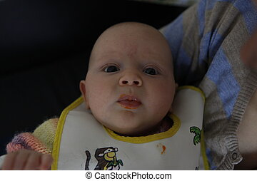 First person view on baby being fed - First person view on...