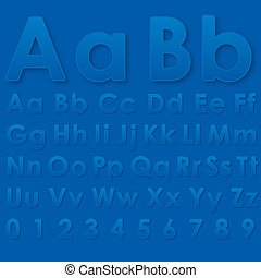 Alphabet letters on a blue background - Alphabet pseudo 3d...