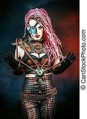 cyborg woman - Portrait of an attractive steampunk woman...