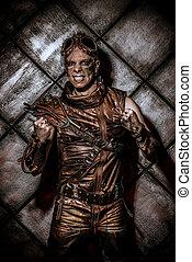cosplay games - Expressive steampunk over grunge background....