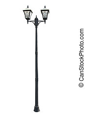 Street lamppost - An old street lamppost isolated over white