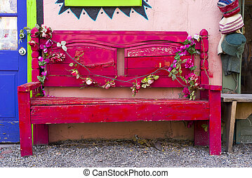 Antique Wooden Bench in New Mexico - Antique Wooden Bench...