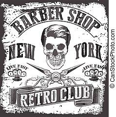 loja, vindima, gráfico, barbeiro,  tee